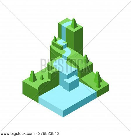 Polygonal Model Landscape. Waterfall In Isometric. Vector Illustration