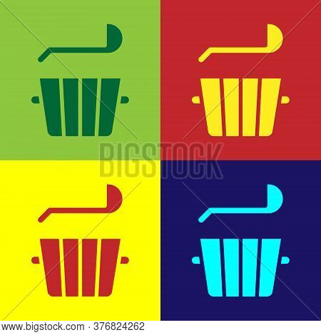 Pop Art Sauna Bucket And Ladle Icon Isolated On Color Background. Vector