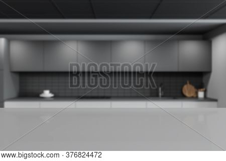 Gray Table For Your Product Standing In Blurry Stylish Pub With White And Gray Walls And Gray Cupboa