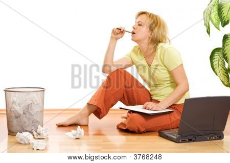 Tired Woman Working And Thinking
