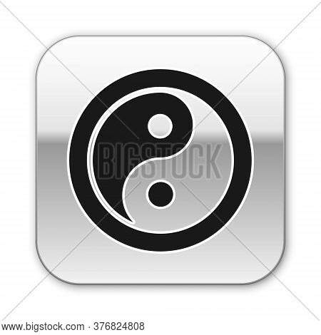 Black Yin Yang Symbol Of Harmony And Balance Icon Isolated On White Background. Silver Square Button
