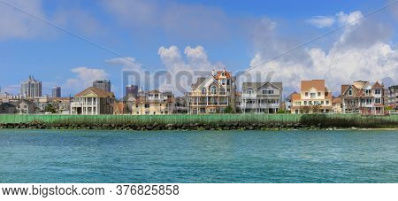 ATLANTIC CITY NEW JERSEY - JULY 5: Ocean View of luxury homes at the Atlantic city coast on  July 5, 2018 in Atlantic City New Jersey.