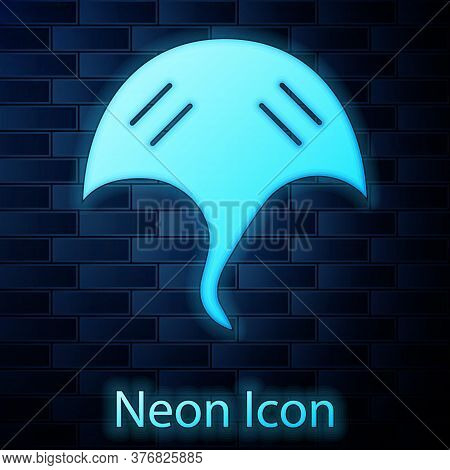 Glowing Neon Stingray Icon Isolated On Brick Wall Background. Vector.
