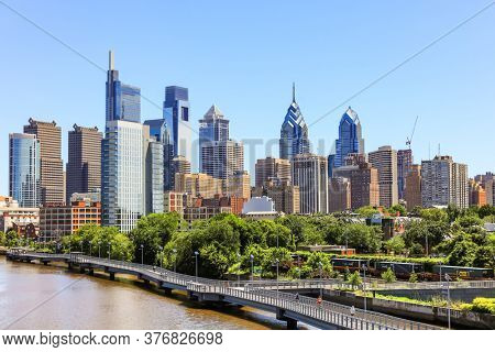 July, 7,2018, Philadelphia, Pennsylvania : Skyline of Philadelphia downtown from from South street bridge on Schuylkill river, Pennsylvania, USA.