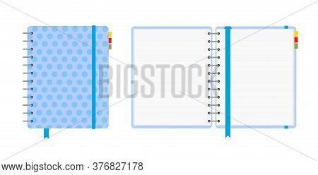 Blue Polka Dot Notebook, Closed And Open, Isolated On White Background. School Vector Background Wit