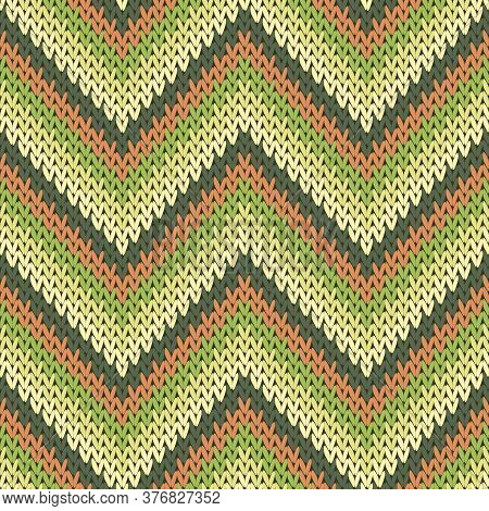 Bright Zigzag Chevron Stripes Knitted Texture Geometric Vector Seamless. Pullover Knit Effect Orname
