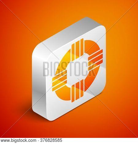 Isometric Lifebuoy Icon Isolated On Orange Background. Lifebelt Symbol. Silver Square Button. Vector