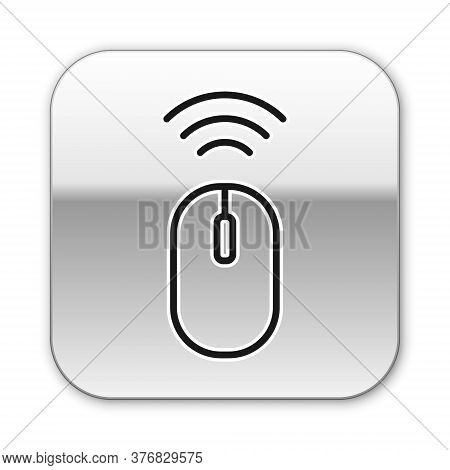 Black Line Wireless Computer Mouse System Icon Isolated On White Background. Internet Of Things Conc
