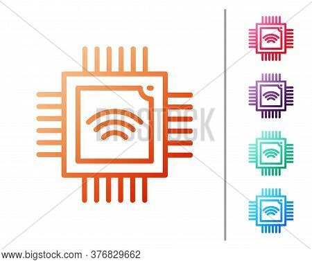 Red Line Computer Processor With Microcircuits Cpu Icon Isolated On White Background. Chip Or Cpu Wi