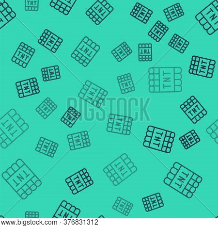 Black Line Detonate Dynamite Bomb Stick And Timer Clock Icon Isolated Seamless Pattern On Green Back