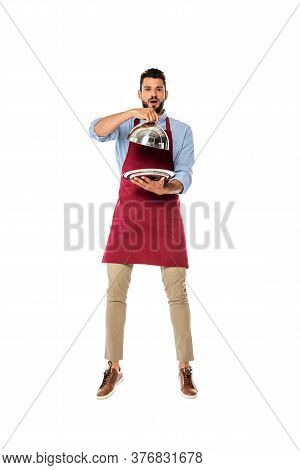 Handsome Waiter Holding Metal Tray And Dish Cover Isolated On White