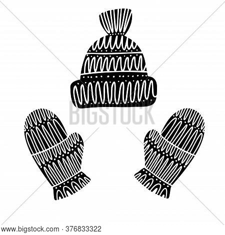 Isolated Black And White Vector Design Of Knitted Mittens And Hat