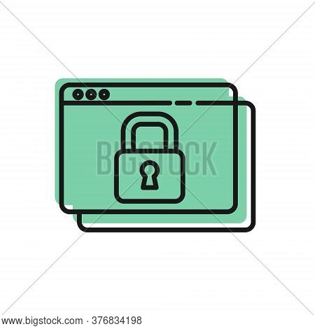 Black Line Secure Your Site With Https, Ssl Icon Isolated On White Background. Internet Communicatio