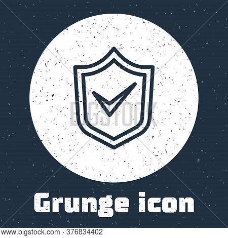 Grunge Line Shield With Check Mark Icon Isolated On Grey Background. Security, Safety, Protection, P