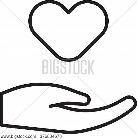 Black Line Heart In Hand Icon Isolated On White Background. Hand Giving Love Symbol. Valentines Day