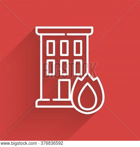 White Line Fire In Burning House Icon Isolated With Long Shadow. Insurance Concept. Security, Safety