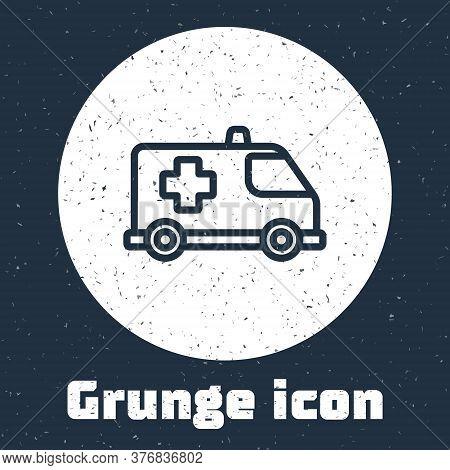Grunge Line Ambulance And Emergency Car Icon Isolated On Grey Background. Ambulance Vehicle Medical