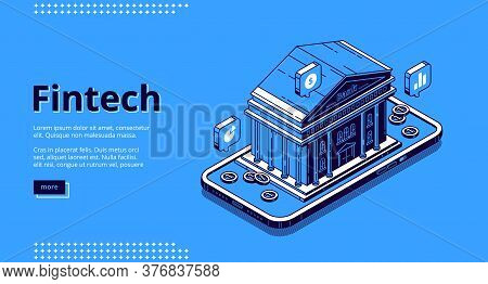 Fintech Banner. Financial Technologies, Digital Solutions For Banking Business. Vector Landing Page