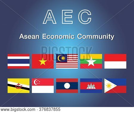 Member Of Asean Economic Community. Association Of Southeast Asian Nations And Member