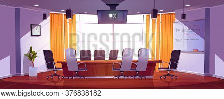 Conference Room For Business Meetings, Presentation For Team, Discussion Or Training. Vector Cartoon