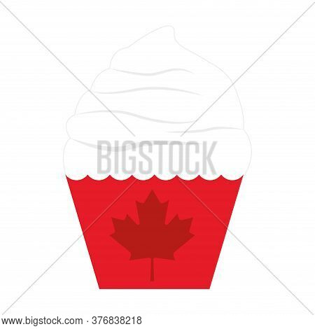 Canadian Cupcake Icon. Sweet Dessert Icon- Vector