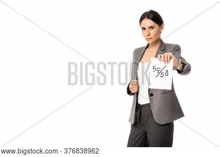 Beautiful Businesswoman Holding Paper With Fifty-fifty Symbols Isolated On White, Gender Equality Co