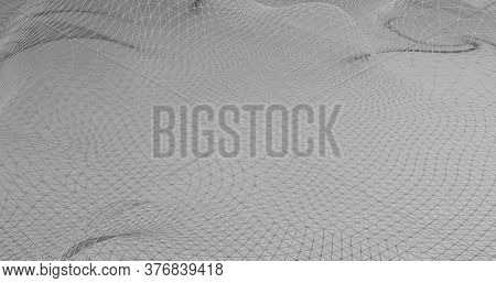 Wireframe Render In 3d Illustration Colorless On White Abstract