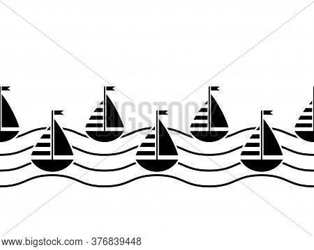 Vector Seamless Border With Sailboats And Waves On White Background