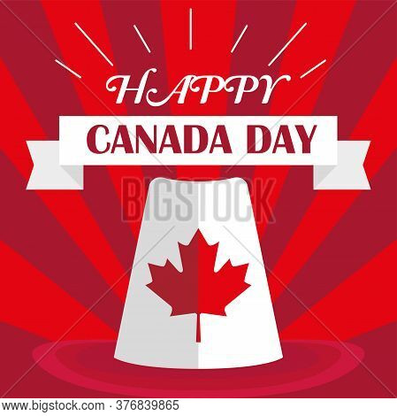 Happy Canada Day Card With A Traditional Canadian Hat - Vector