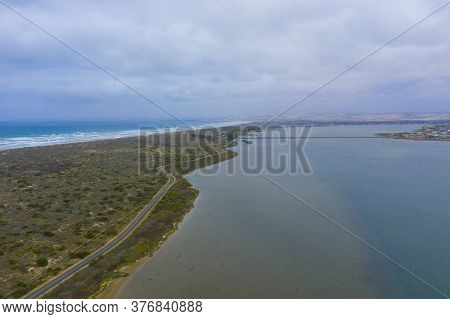 Aerial View Of The Estuary At The Mouth Of The River Murray In Regional Australia