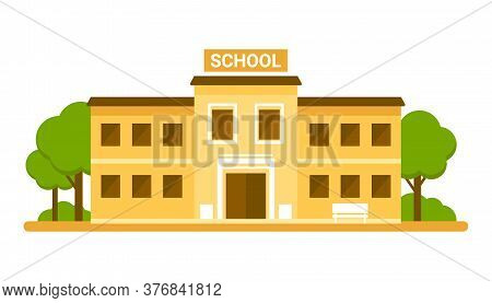 School Facade Building, Yellow House. Back To School, Education Concept. College, University, Academ
