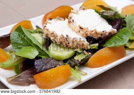 Hazelnut Crusted Goat Cheese With Sugar Beet Salad And Greens