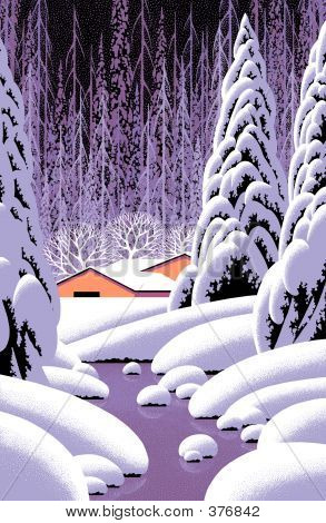 Winter Scene With Yellow Barn