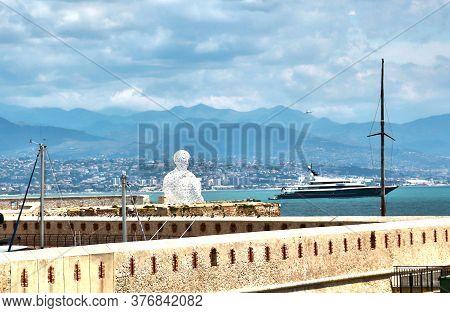 Antibes, France - June 16, 2014: Nomade By Jaume Plensa, Bastion Saint Jaume