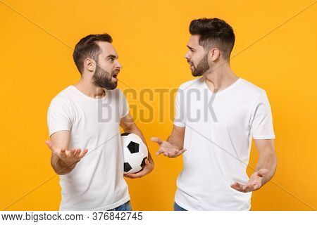Bewildered Men Guys Friends In White T-shirt Posing Isolated On Yellow Background. Sport Leisure Lif