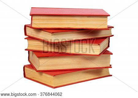 Abstract Old Red Books Stack Isolated On White Background, Close-up