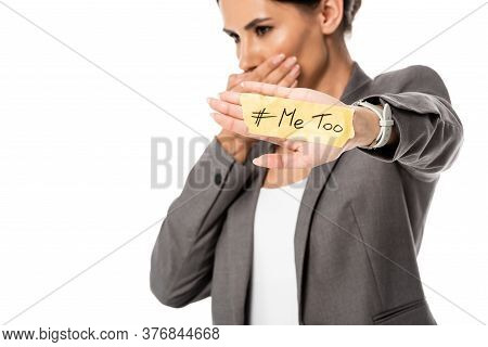 Selective Focus Of Businesswoman With Me Too Lettering On Hand Covering Mouth Isolated On White, Gen
