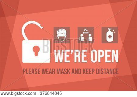 We Are Open After Coronavirus Outbreak Vector Flat Banner Template. Welcome Back After Pandemic, Wea