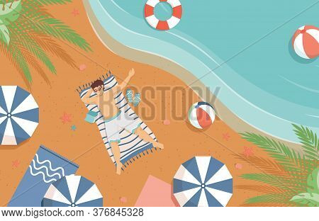 Happy Smiling Man In Swimming Suit Lying On The Sand Beach Vector Flat Illustration. Summer Vacation