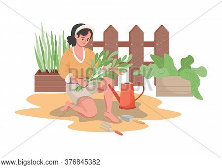 Happy Smiling Woman Planting And Watering Garden Flowers Or Vegetables Vector Flat Illustration. Sum