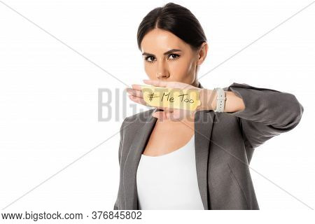 Businesswoman With Me Too Lettering On Hand Covering Mouth And Looking At Camera Isolated On White,