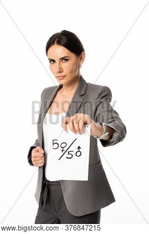 Beautiful Businesswoman In Suit Holding Paper With Fifty-fifty Symbols Isolated On White, Gender Equ