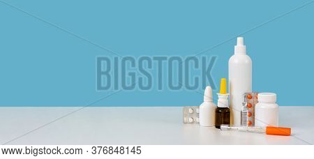 Banner With Copy Space. Medicine Supplies Setup: Mercury Thermometer, White Plastic Bottle, Ampule,