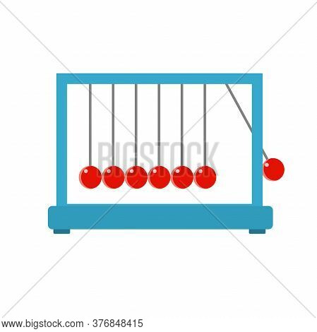 Newtons Cradle On White Background. Vector Illustration.