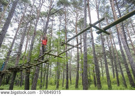 Woman Crossing A Tibetan Bridge In An Adventure Park In A Pine Forest Horizontal