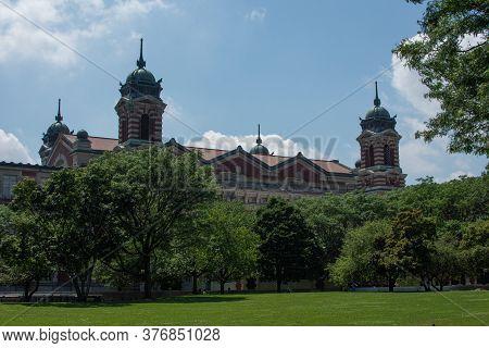 New York, Ny / Usa - July 19, 2019: Exterior Of Ellis Island Immigration Museum