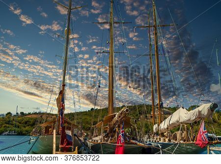 Three Masts In Nelsons Dockyard On Antigua
