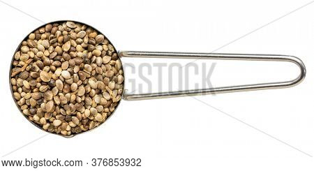 hemp seeds on metal measuring scoop, isolated on white, top view