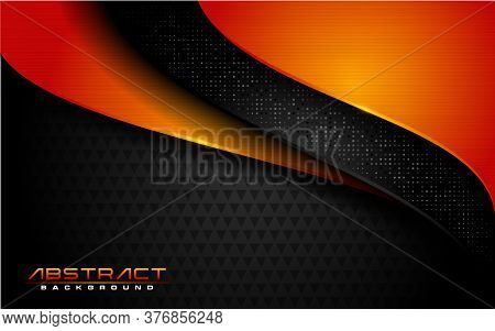 Modern Dark Black Background And Orange Lines In 3d Abstract Style. Futuristic Background Vector Ill