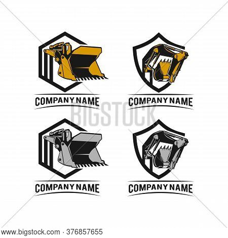 Excavator Design In Modern Flat Style Isolated On White Background. Sign/symbols For Heavy Equipment